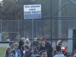 'HAS ANYONE SEEN DIANE FINLEY? LEADERSHIP?' Sign at Gary McHale's inaugural March for Freedom, Caledonia, Oct 15/06 wondering why their Conservative MP won't speak up for them.